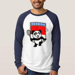 Men's Canvas Long Sleeve Raglan T-Shirt with Indonesian Badminton Panda design