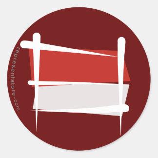 Indonesia Brush Flag Classic Round Sticker