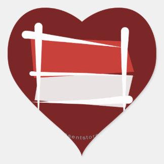 Indonesia Brush Flag Heart Sticker