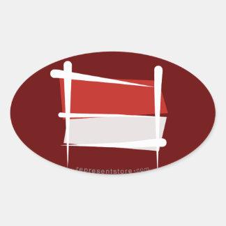Indonesia Brush Flag Oval Sticker