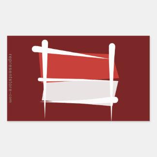 Indonesia Brush Flag Rectangular Sticker