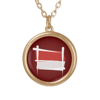 Indonesia Brush Flag Round Pendant Necklace