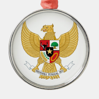 Indonesia Coat Of Arms Round Metal Christmas Ornament