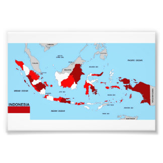 indonesia country political map flag photographic print