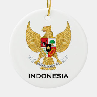 INDONESIA - emblem/flag/coat of arms/symbol Double-Sided Ceramic Round Christmas Ornament
