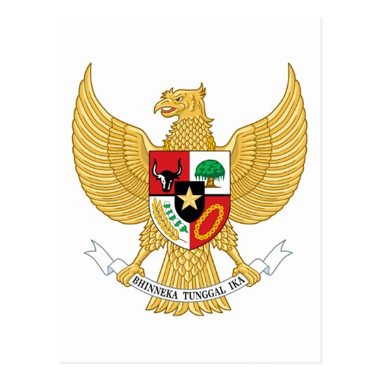 indonesia emblem postcard