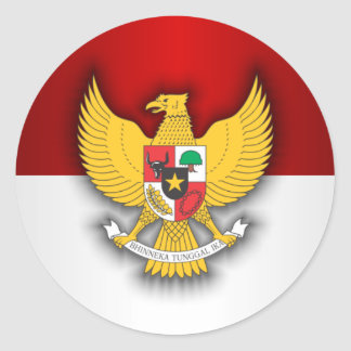 Indonesia Flag and Emblem Classic Round Sticker
