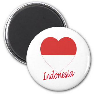Indonesia Flag Heart Magnet