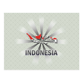 Indonesia Flag Map 2.0 Post Card
