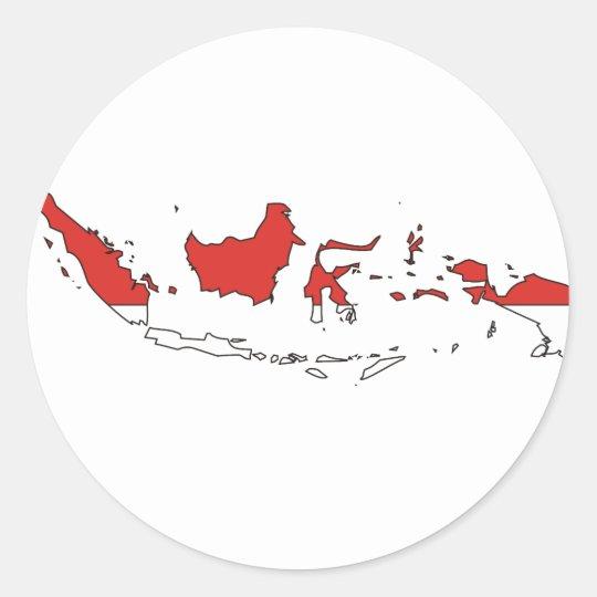 Indonesia flag map classic round sticker
