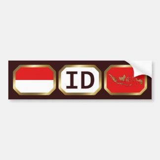 Indonesia Flag Map Code Bumper Sticker Car Bumper Sticker
