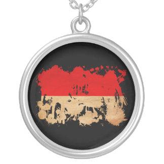 Indonesia Flag Round Pendant Necklace