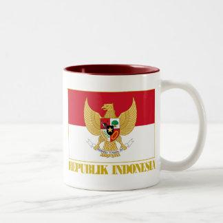 Indonesia Flag with COA Two-Tone Coffee Mug