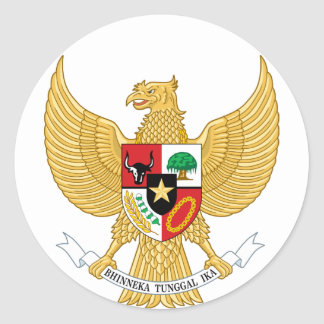 Indonesia, ID, Coat of arms Classic Round Sticker