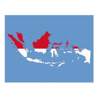 Indonesia ID, Jakarta, Flag Map Postcards