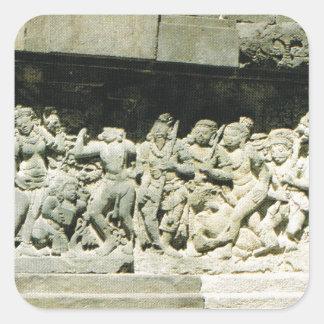 Indonesia, Java, Ramayana que talla, Prambanan Pegatina Cuadrada