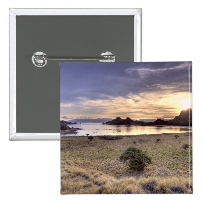 Indonesia, Komodo National Park. Sunset on one Pinback Button