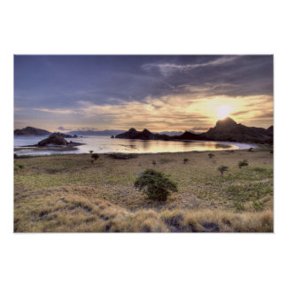 Indonesia, Komodo National Park. Sunset on one Poster