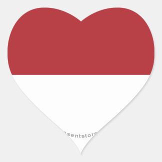 Indonesia Plain Flag Heart Sticker