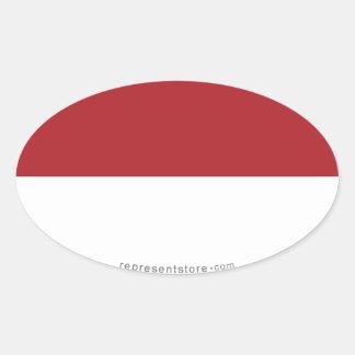 Indonesia Plain Flag Oval Sticker