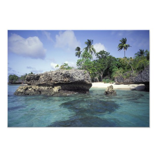 Indonesia. Rock formations along shore Photo Print