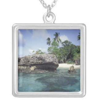 Indonesia. Rock formations along shore Silver Plated Necklace