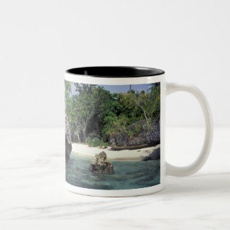 Indonesia. Rock formations along shore Two-Tone Coffee Mug