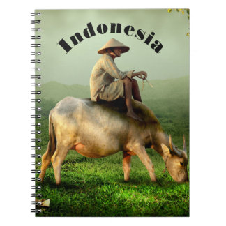 Indonesia Scenic landscape with Buffalo and Farmer Spiral Notebook