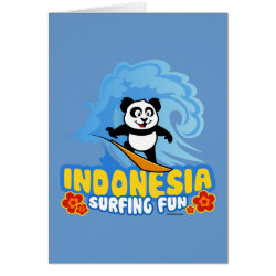 Indonesia Surfing Panda Greeting Card