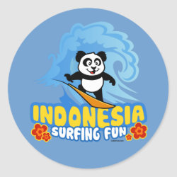Indonesia Surfing Panda Round Sticker