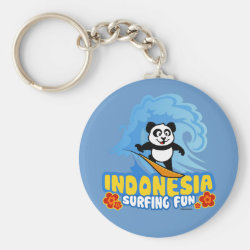 Indonesia Surfing Panda Basic Button Keychain