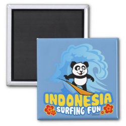 Square Magnet with Indonesia Surfing Panda design