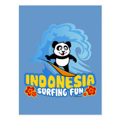 Postcard with Indonesia Surfing Panda design