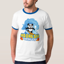 Men's Basic Ringer T-Shirt with Indonesia Surfing Panda design