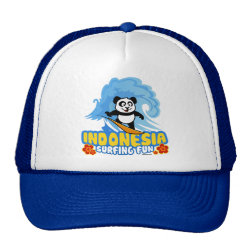 Trucker Hat with Indonesia Surfing Panda design