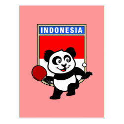 Postcard with Indonesian Table Tennis Panda design