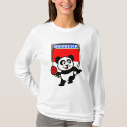 Women's Basic Long Sleeve T-Shirt with Indonesian Table Tennis Panda design