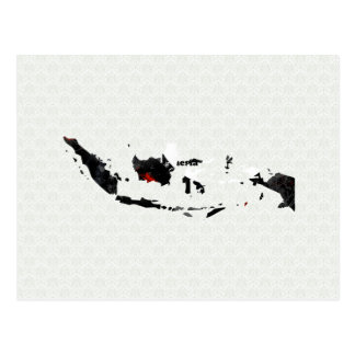Indonesia Trendy Peace Sign with Indonesian map Post Card