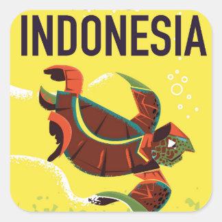 Indonesia Vintage Travel Poster Print Square Sticker