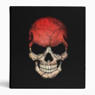 Indonesian Flag Skull on Black Vinyl Binder