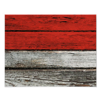 Indonesian Flag with Rough Wood Grain Effect Poster