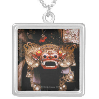 Indonesian mask silver plated necklace