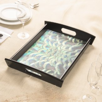 Indonesian Peacock Feathers Pattern Serving Tray