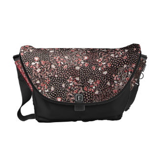 Indonesian Red Flowers Batik Courier Bag