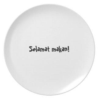 Indonesio Selamat de la serie de la placa del appe Plato Para Fiesta