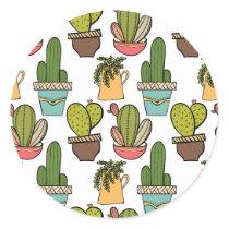 Indoor Cactus & Succulents In Pots Pattern Classic Round Sticker