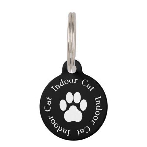 Indoor Cat Paw Print Cat Tag