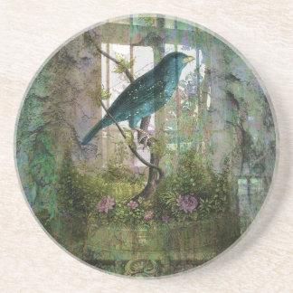 Indoor Garden with Bird Drink Coaster