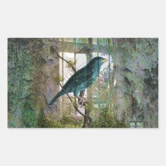Indoor Garden with Bird Rectangular Sticker
