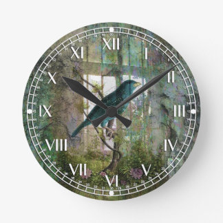 Indoor Garden with Bird Round Clock